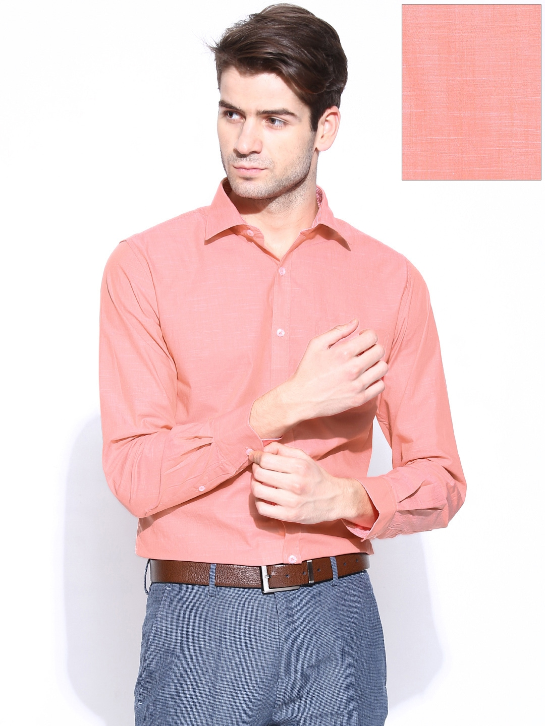 Buy Peter England Men Peach Coloured Slim Fit Formal Shirt ...