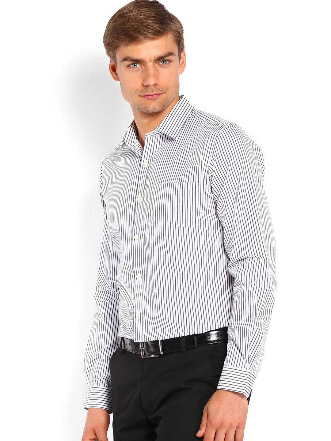 Myntra black coffee men white navy striped slim fit for Boys white formal shirt