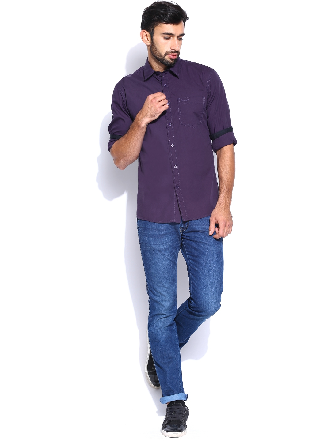 Myntra wrangler men purple casual shirt 680588 buy for Shirts online shopping lowest price