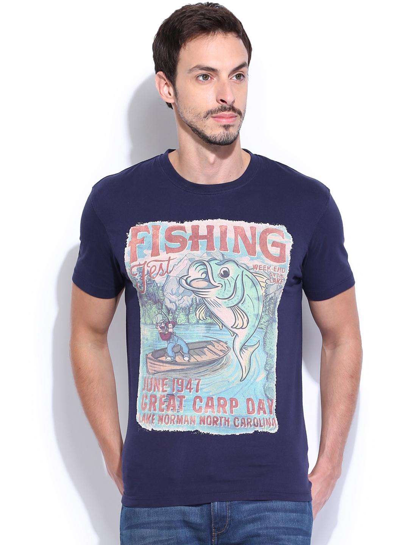 Myntra Wrangler Men Navy Fishing Printed T Shirt 680606