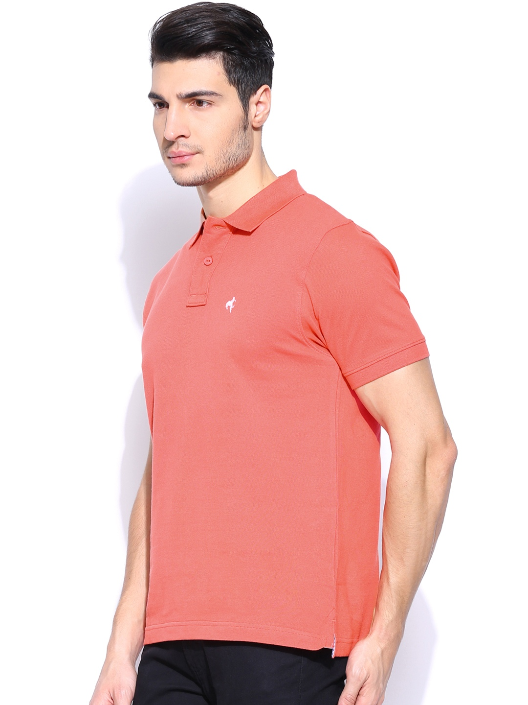 Myntra wrangler men coral pink polo t shirt 680613 buy for Coral shirts for guys