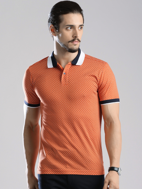 Myntra invictus orange navy printed polo t shirt 686150 for Polo t shirt printing