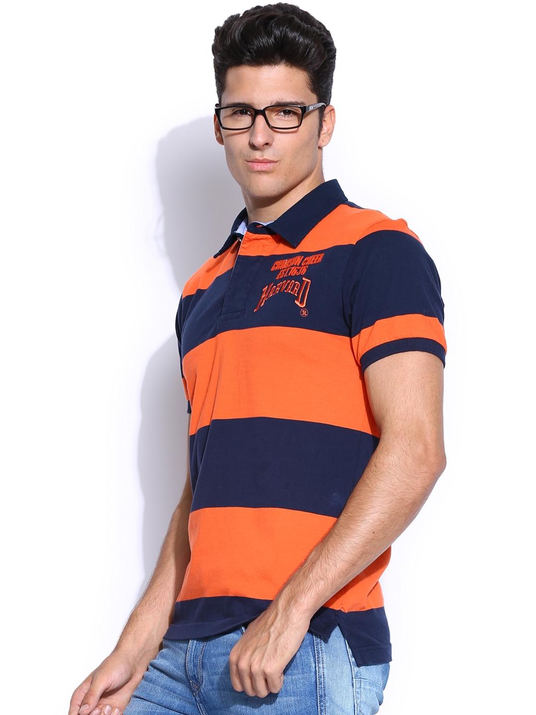 Myntra Harvard Men Orange Blue Striped Soccer Saga Rugby