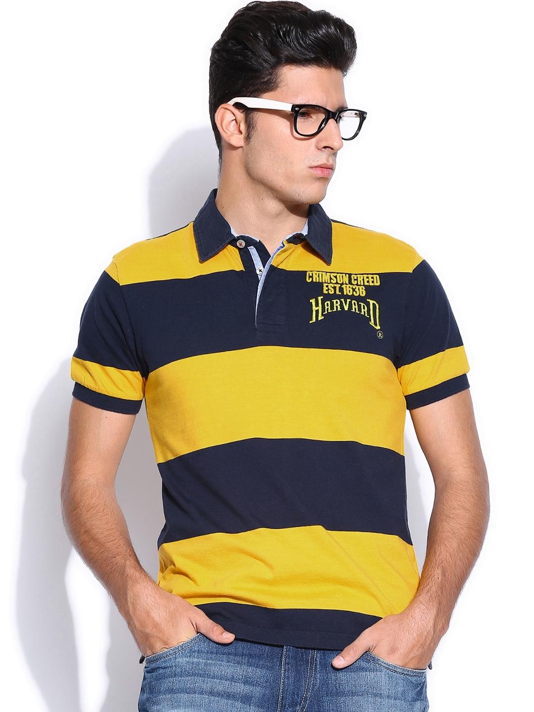 Myntra Harvard Men Yellow Blue Striped Soccer Saga Rugby