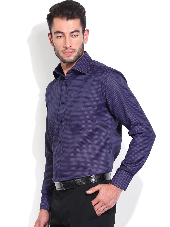 Myntra vivaldi men purple navy slim fit formal shirt for Navy slim fit shirt