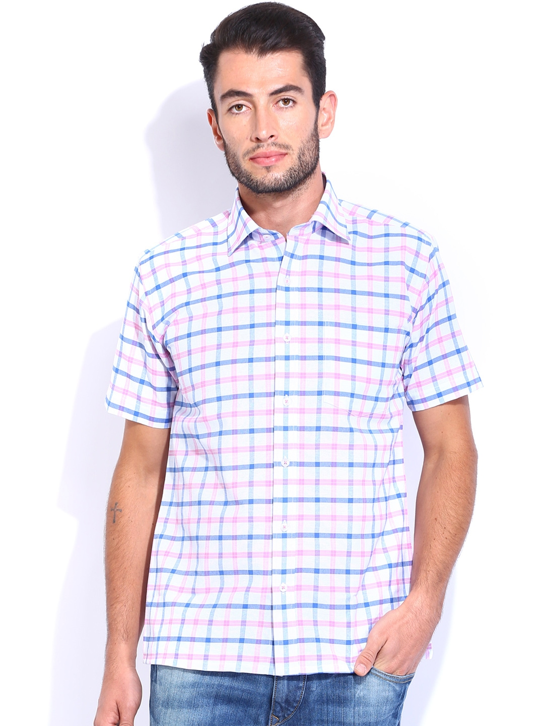 Myntra vivaldi men white pink checked tailored fit for Tailor dress shirt cost