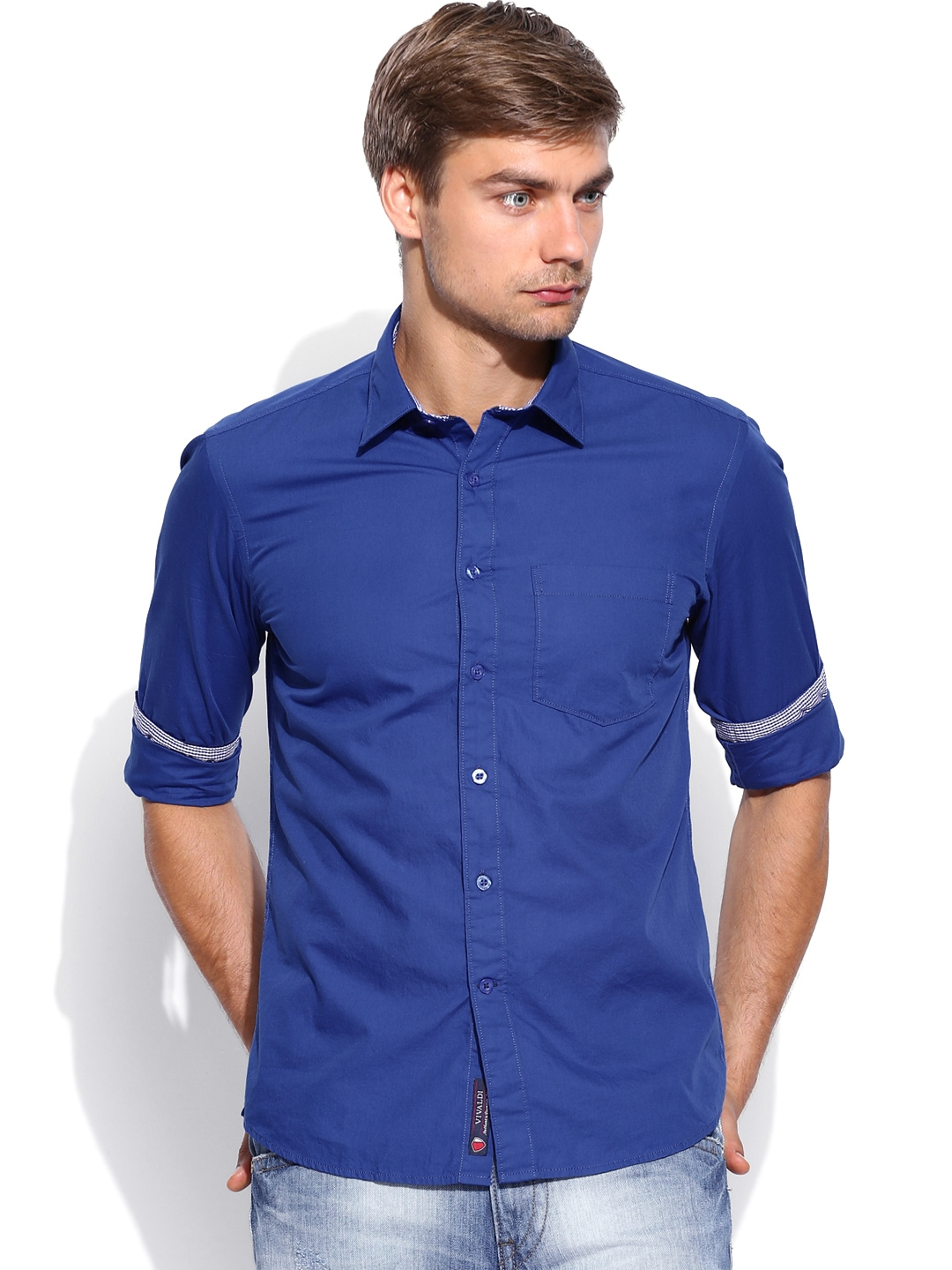 Myntra Vivaldi Men Blue Tailored Fit Casual Shirt 687647