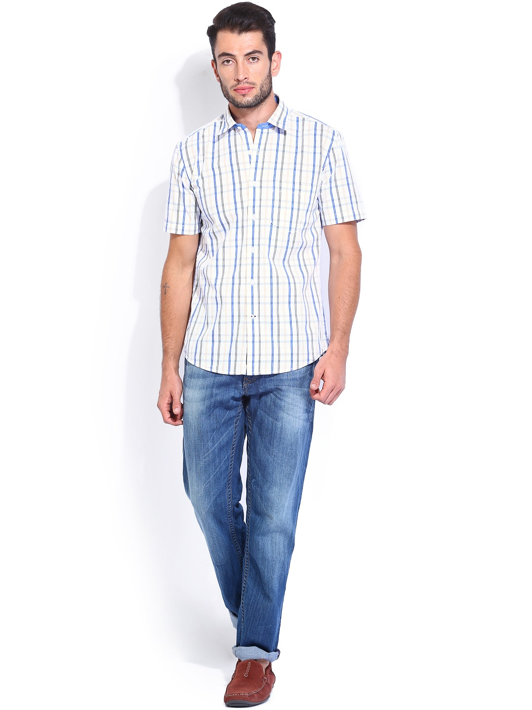 Myntra Vivaldi Men White Yellow Checked Tailored Fit