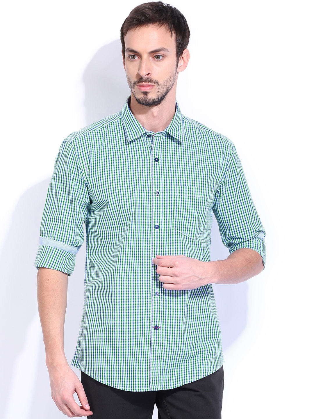 Myntra vivaldi men green blue checked tailored fit for Tailor dress shirt cost