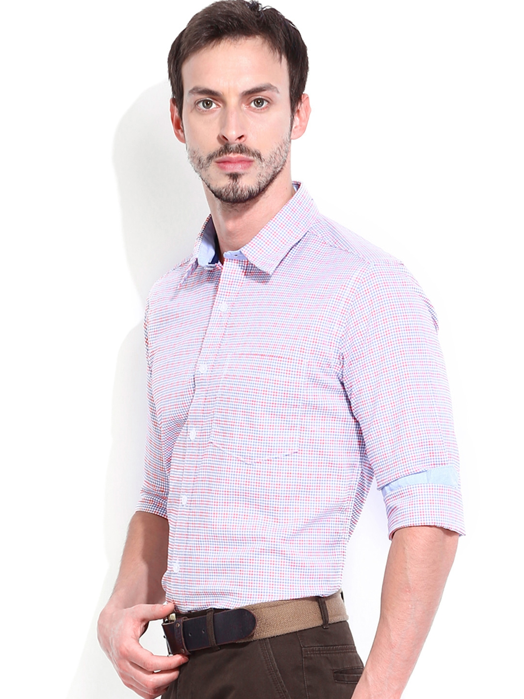 Myntra vivaldi men white blue checked tailored fit smart for Tailor dress shirt cost