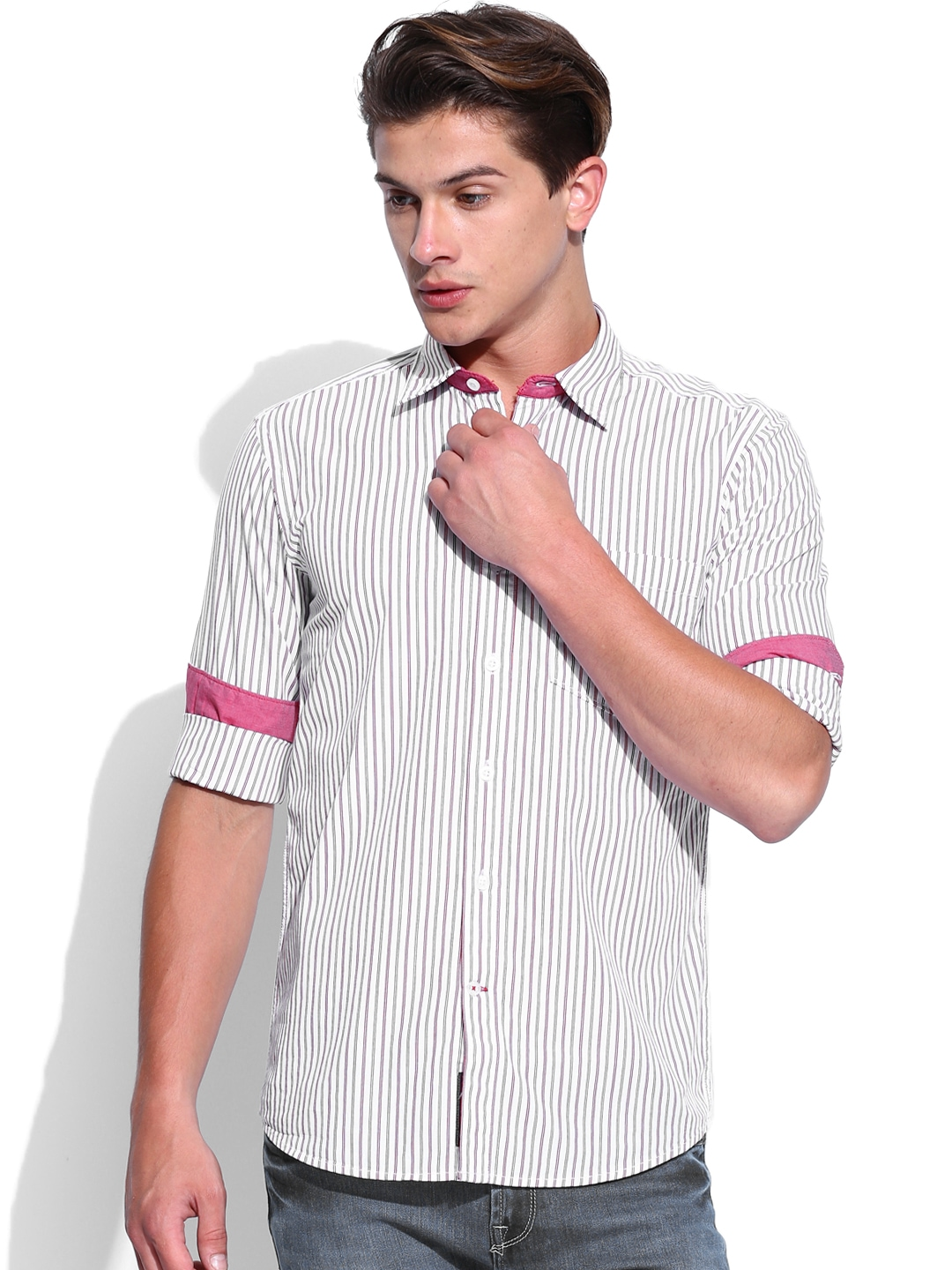 Myntra Vivaldi Men Off White Red Striped Tailored Fit
