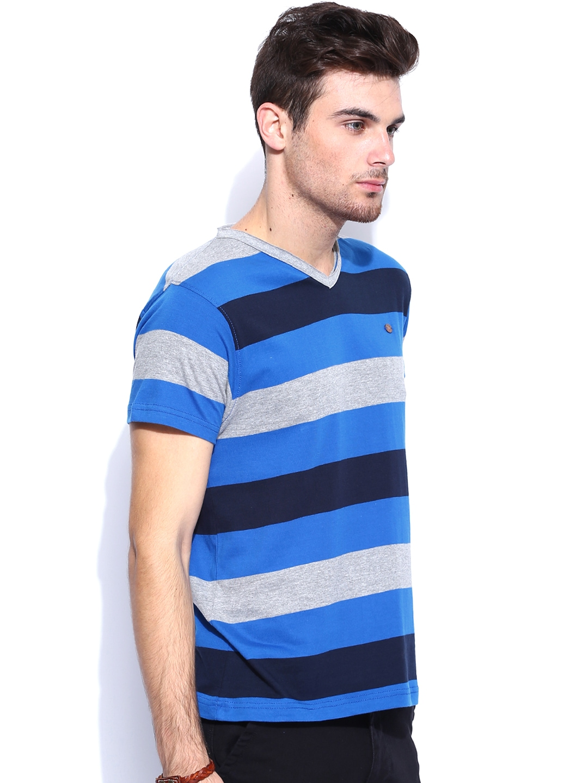 Myntra roadster blue grey striped t shirt 687795 buy Grey striped t shirt