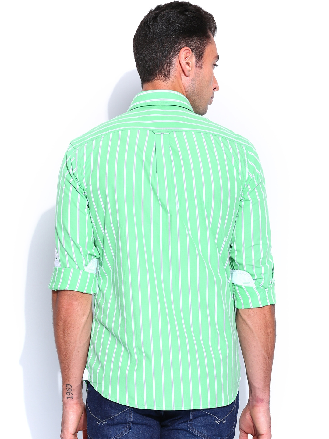 Myntra U S Polo Assn Men Green Striped Tailored Fit