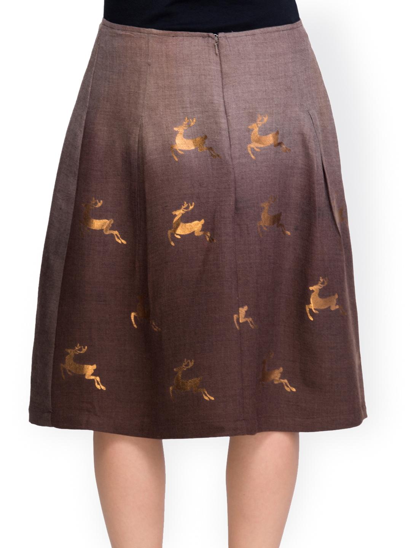 myntra oxolloxo brown printed a line skirt 689219 buy
