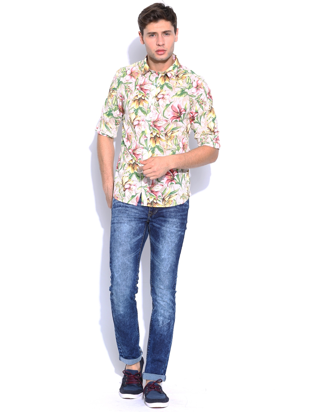Myntra flying machine men multicoloured floral printed for Machine to print shirts