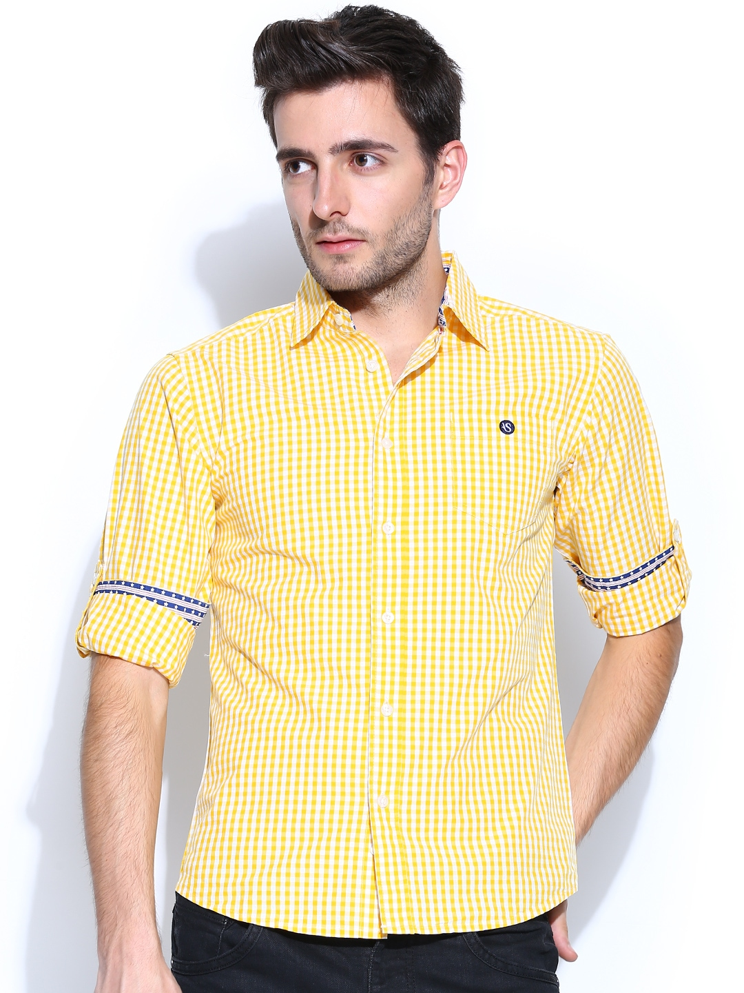 Myntra american swan men yellow white gingham checked for Mens yellow gingham shirt