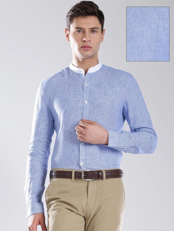 Myntra invictus men blue white linen slim fit formal for Slim fit white linen shirt