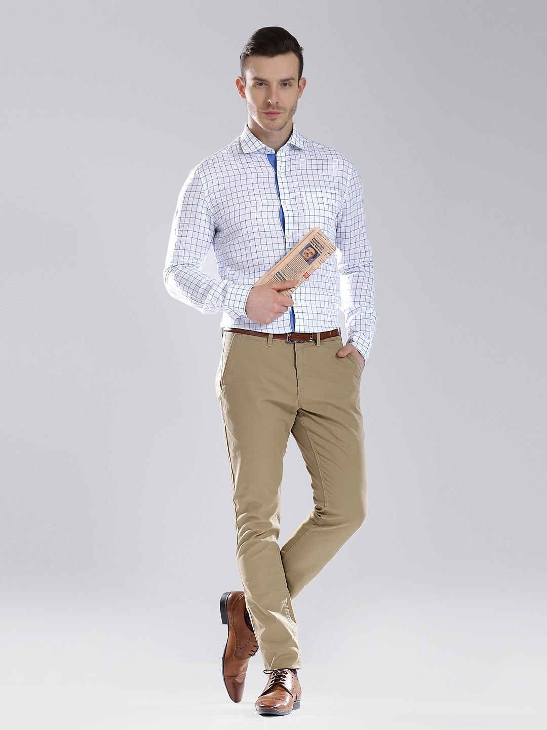 Myntra invictus men white blue checked linen tailored for Tailor dress shirt cost