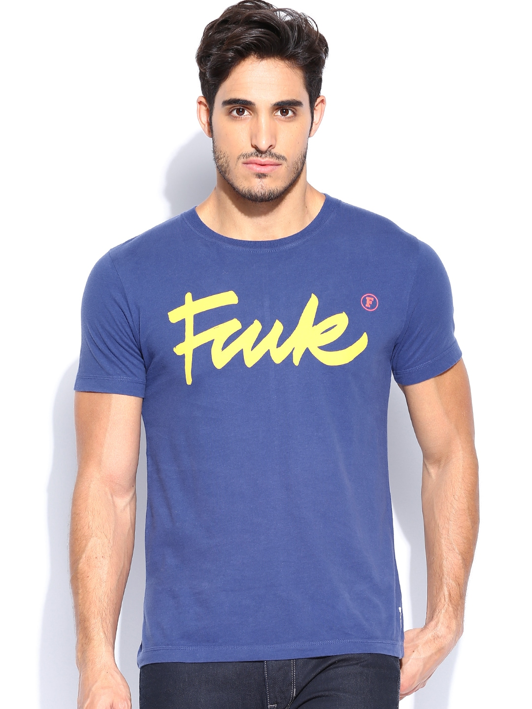 Myntra french connection men blue printed t shirt 695455 for French blue t shirt