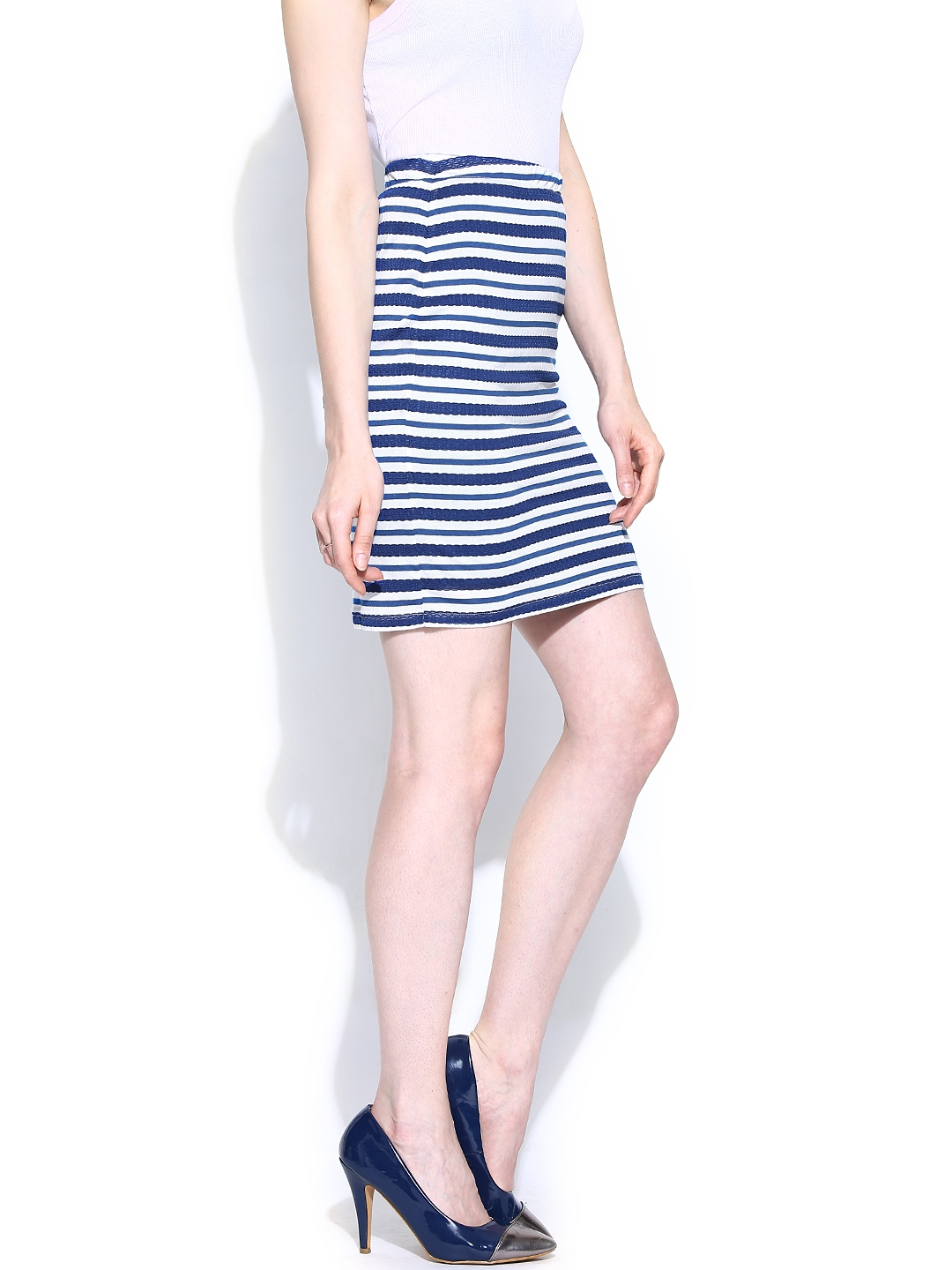 myntra and by dongre blue white striped pencil