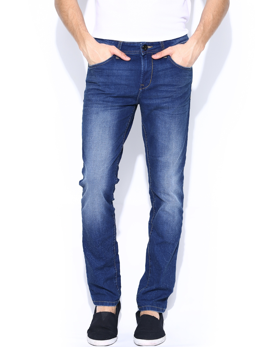 Clothes Being Washed ~ Myntra being human clothing blue washed slim jeans