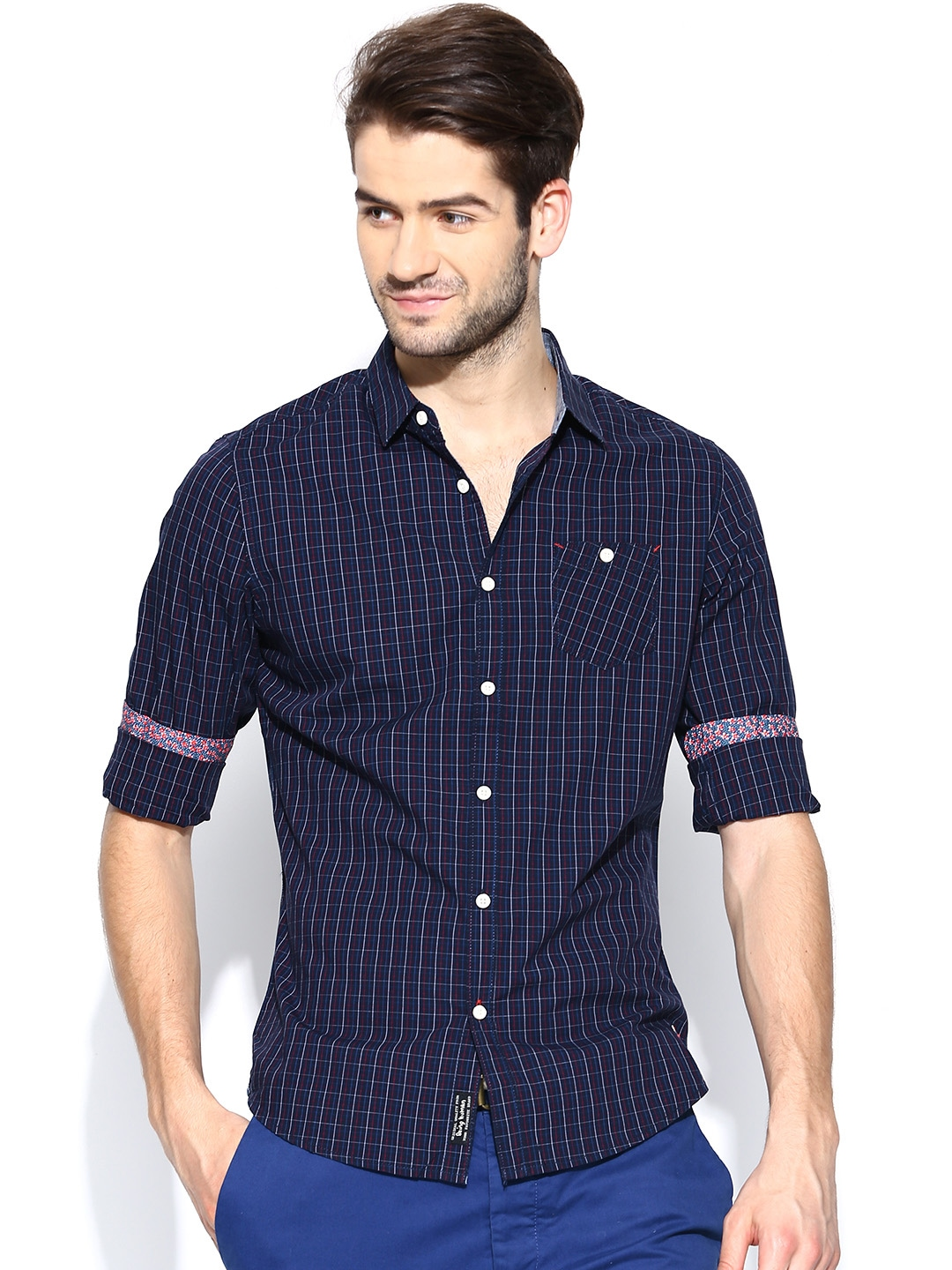 Myntra being human clothing men navy checked slim fit for Navy slim fit shirt