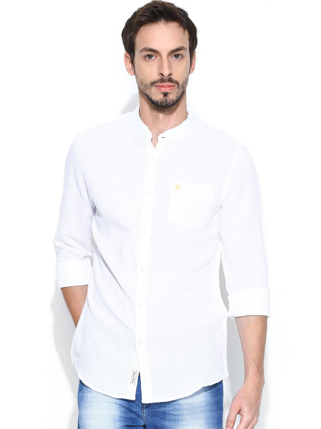 Myntra being human clothing men black slim fit casual for Slim fit white linen shirt