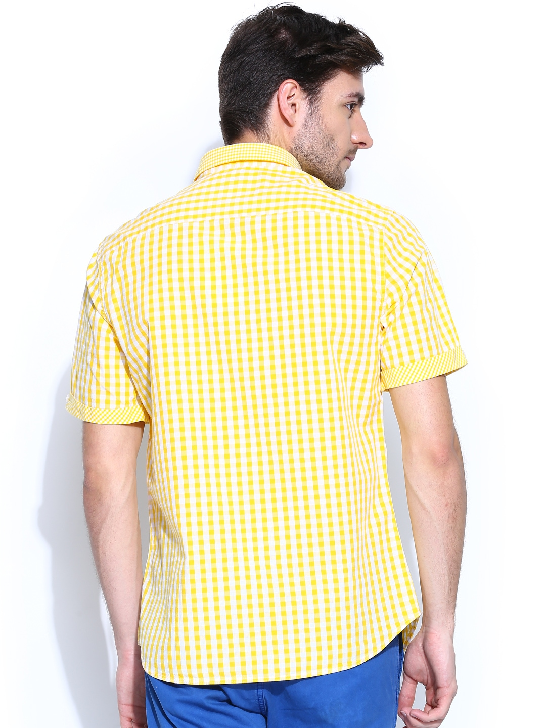 Myntra john players men yellow white gingham checked for Mens yellow gingham shirt