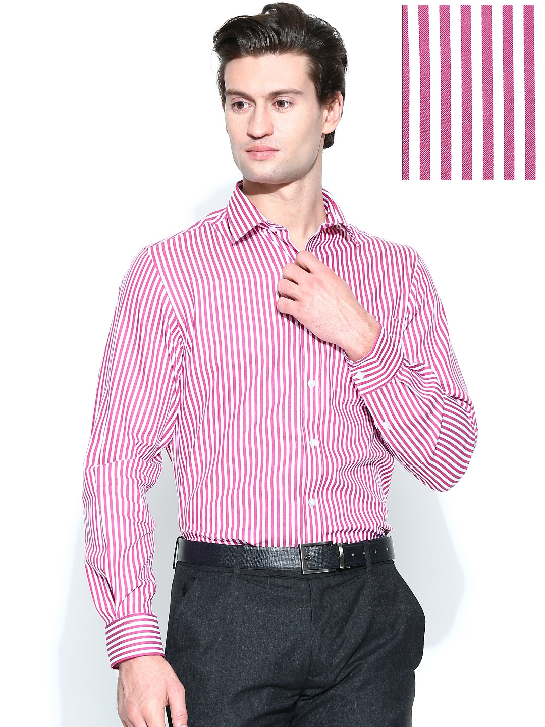Myntra john players men pink white slim fit formal shirt for Boys white formal shirt
