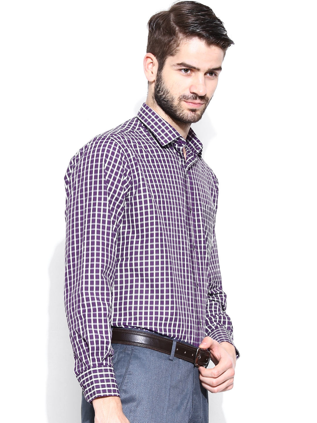 Myntra john players men purple white checked formal for Purple and white checked shirt