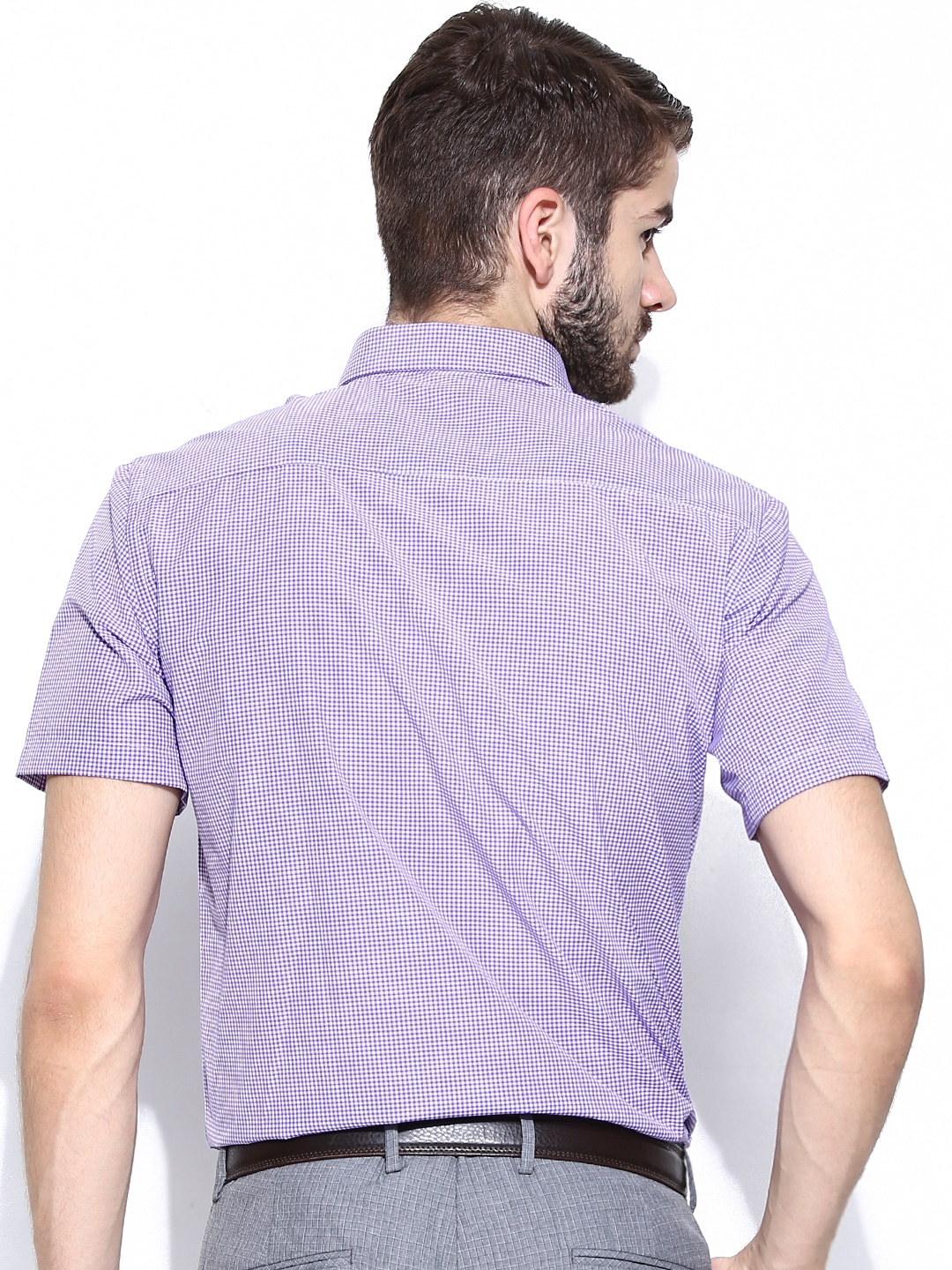Myntra john players men purple white checked slim fit for Purple and white checked shirt