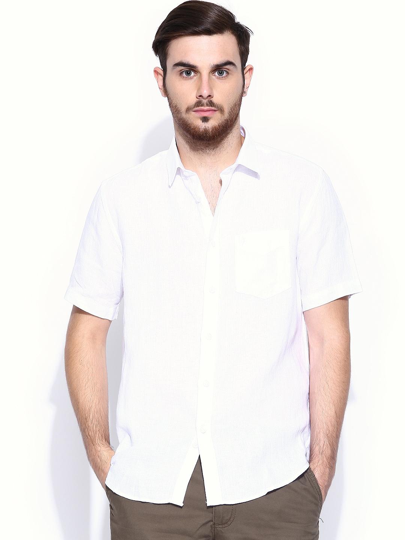 Myntra indian terrain men white linen slim fit casual for Slim fit white linen shirt