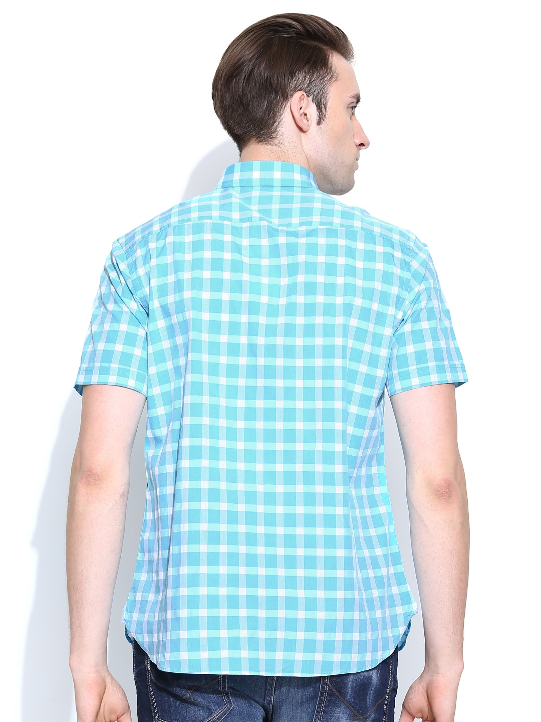 Myntra indian terrain men blue checked slim fit casual for Shirts online shopping lowest price