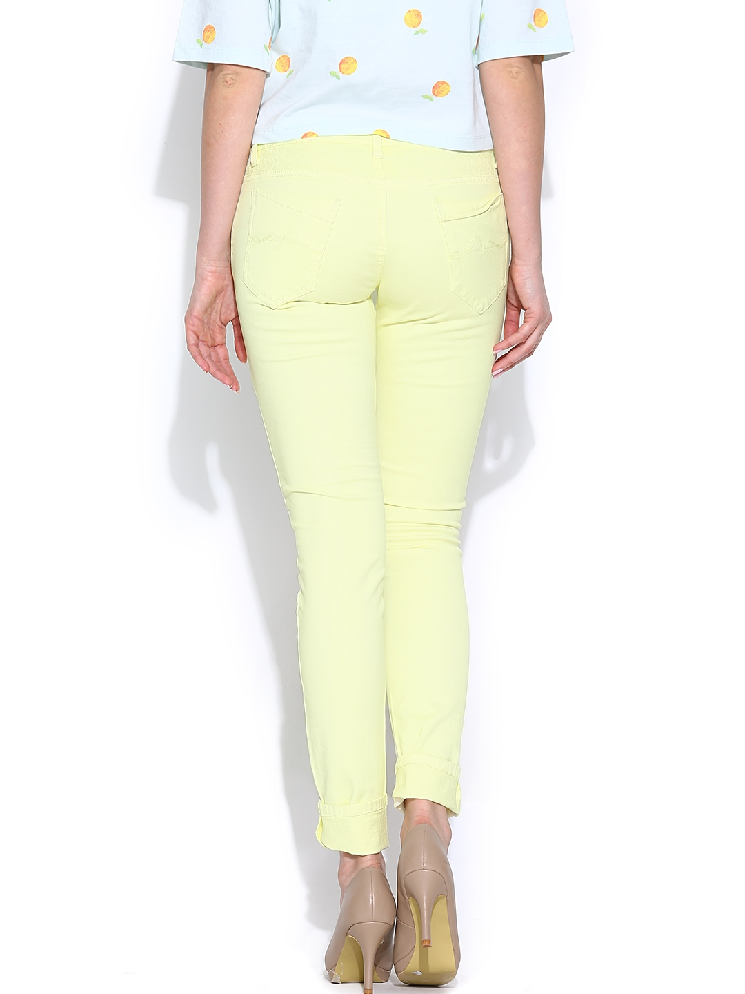 7 For All Mankind The Ankle Skinny Jeans in Vivid Yellow-Women. See at Bloomingdale's. LINKSHARE. 7 For All Mankind 7 For All Mankind The Ankle Skinny Jeans in Vivid Yellow Bloomingdale's $ $ J Brand. J Brand super skinny jeans - Yellow .