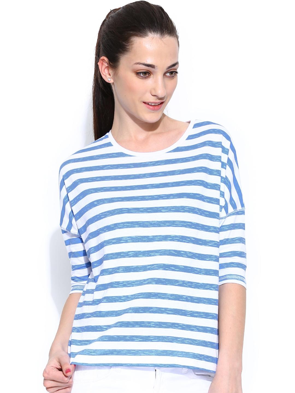Myntra pepe jeans women white blue striped t shirt for Blue white striped t shirt