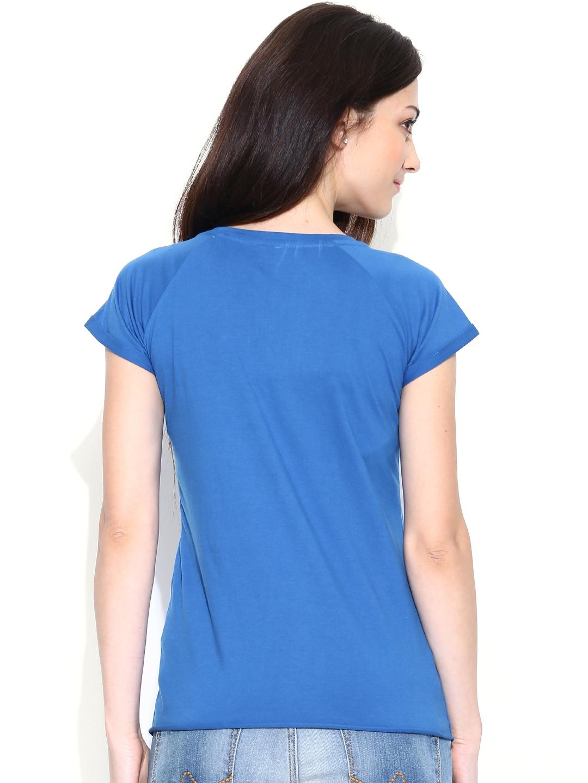 myntra pepe jeans women blue t shirt 699637 buy myntra. Black Bedroom Furniture Sets. Home Design Ideas