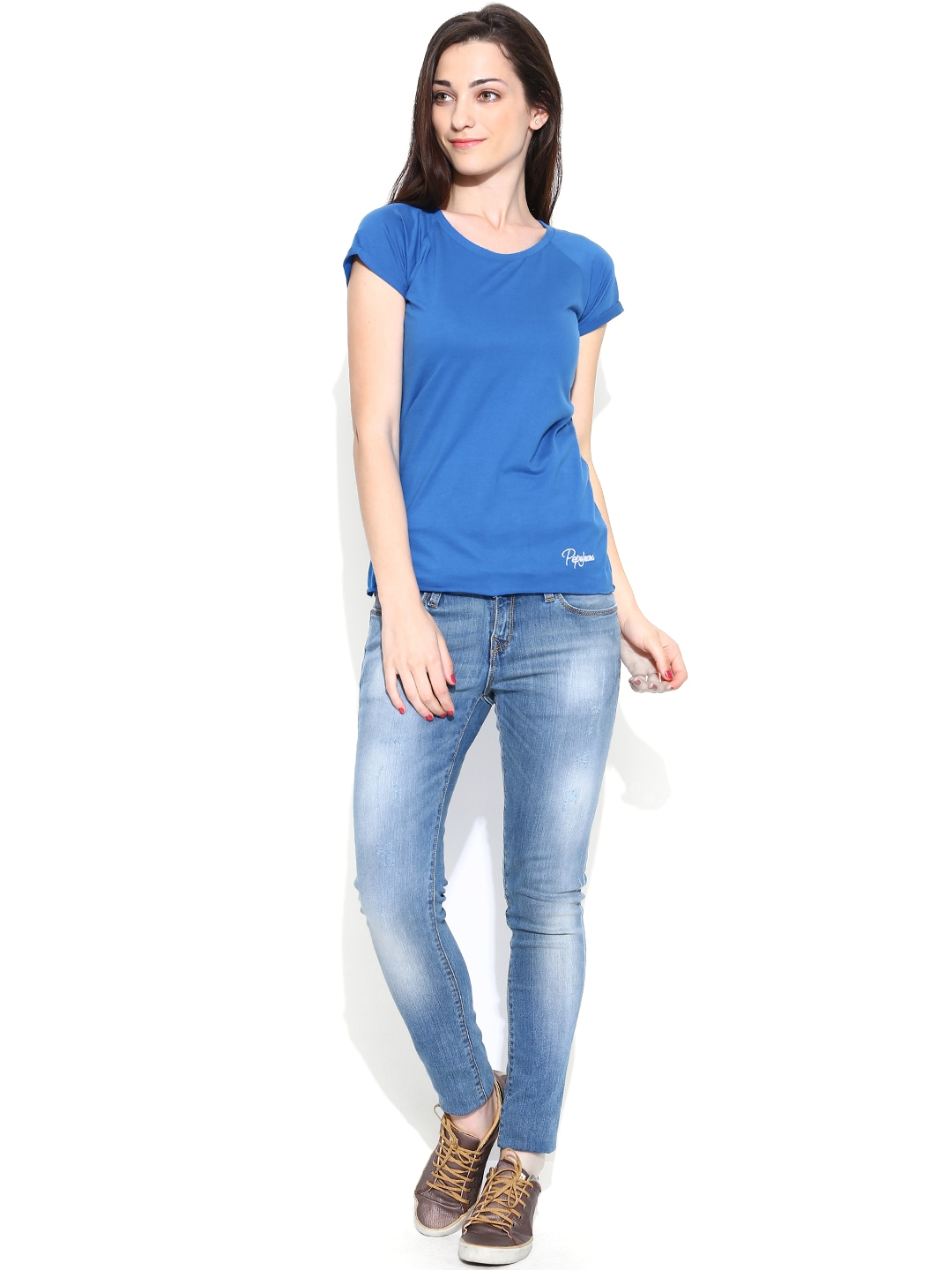 Myntra pepe jeans women blue t shirt 699637 buy myntra for Jeans shirt for ladies online
