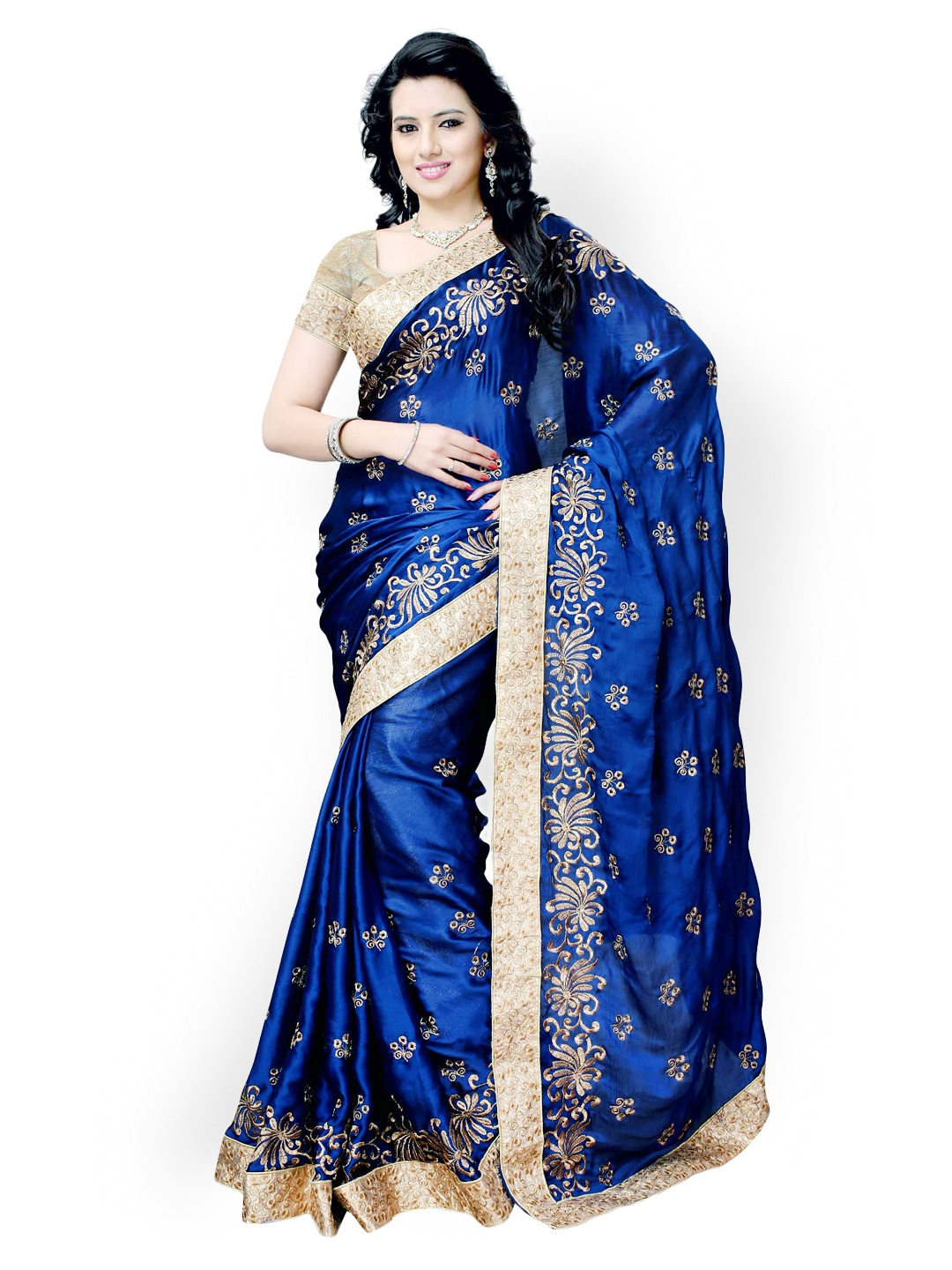 Myntra Colors Blue Embroidered Satin & Chiffon Fashion ...