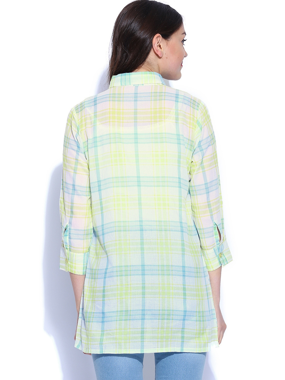 Myntra shibori women lime green off white checked shirt for Womens green checked shirt