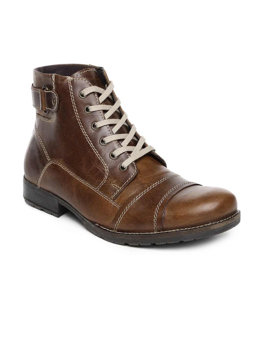 myntra brown leather boots 701018 buy