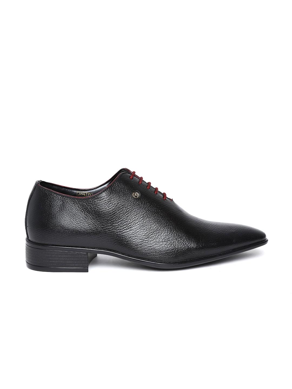 myntra alberto torresi black leather formal shoes