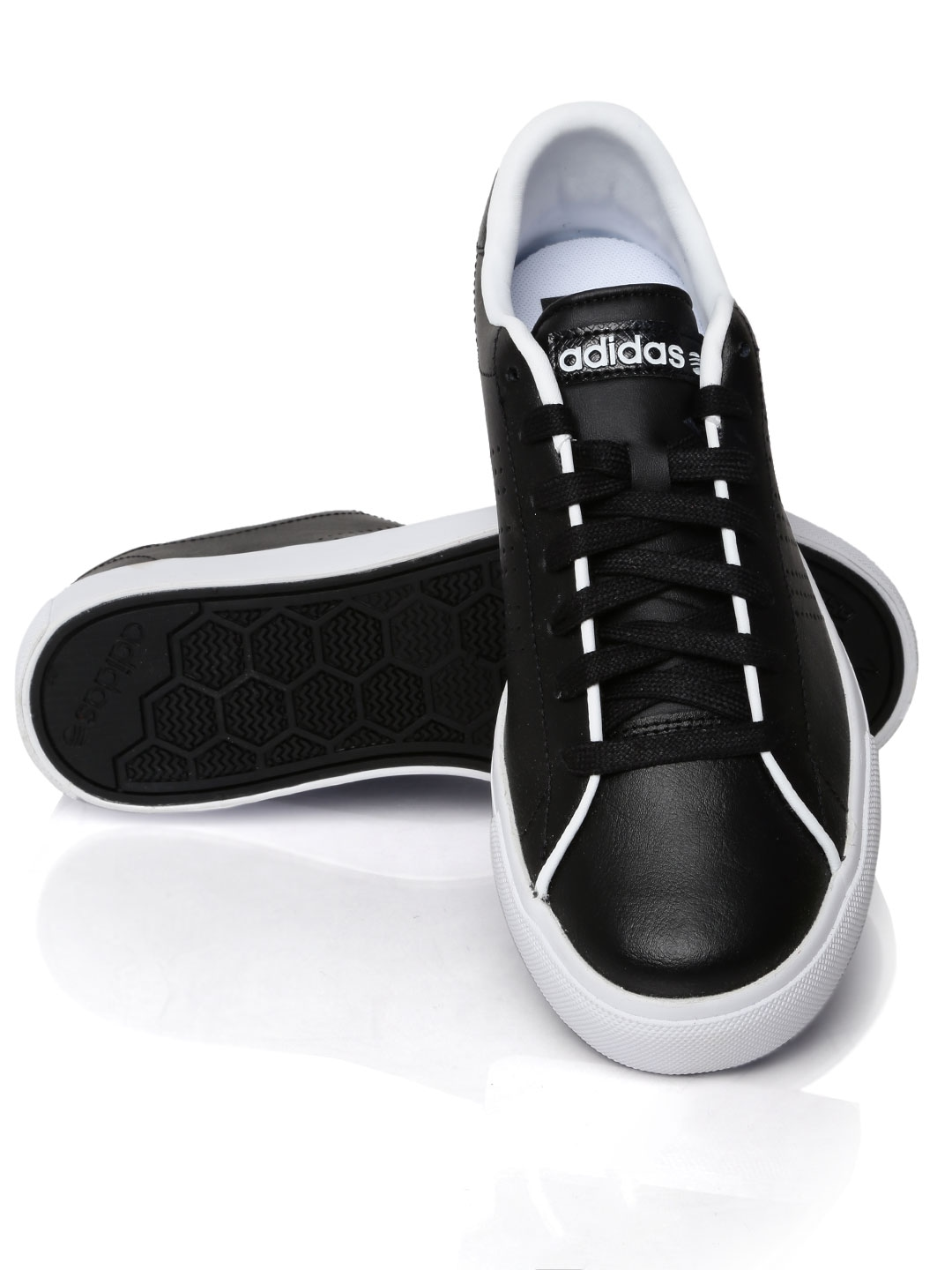 adidas neo black leather sneakers