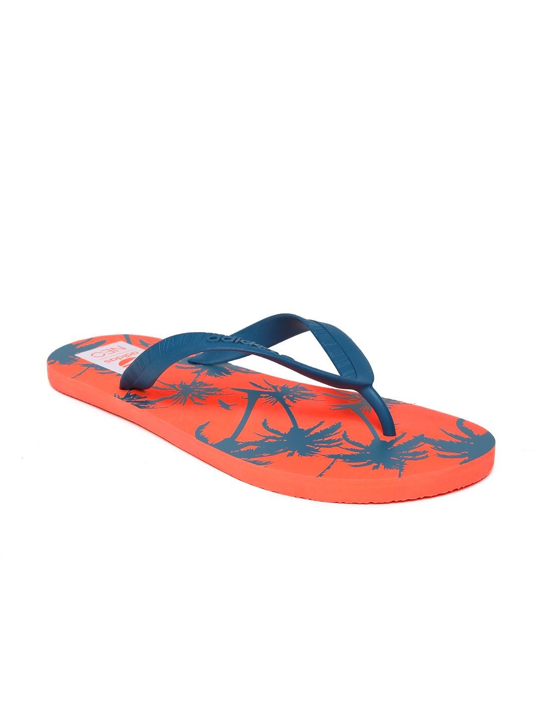 myntra adidas neo men teal blue orange printed flip. Black Bedroom Furniture Sets. Home Design Ideas