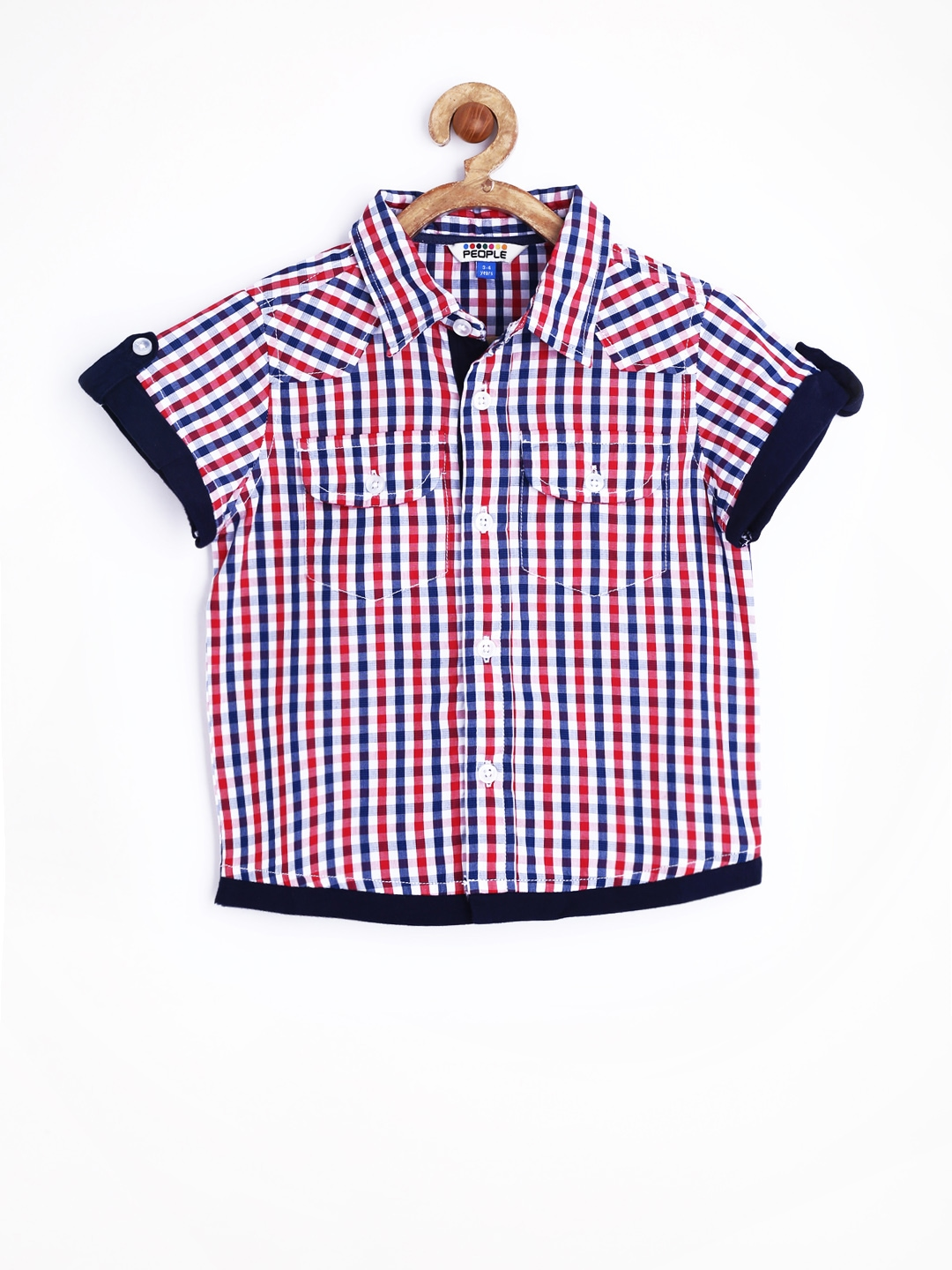 Myntra people varsity boys navy red gingham checked for Navy blue gingham shirt