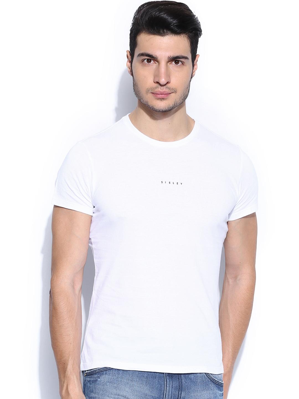 Myntra Sisley Men White Slim Fit T-shirt 704631
