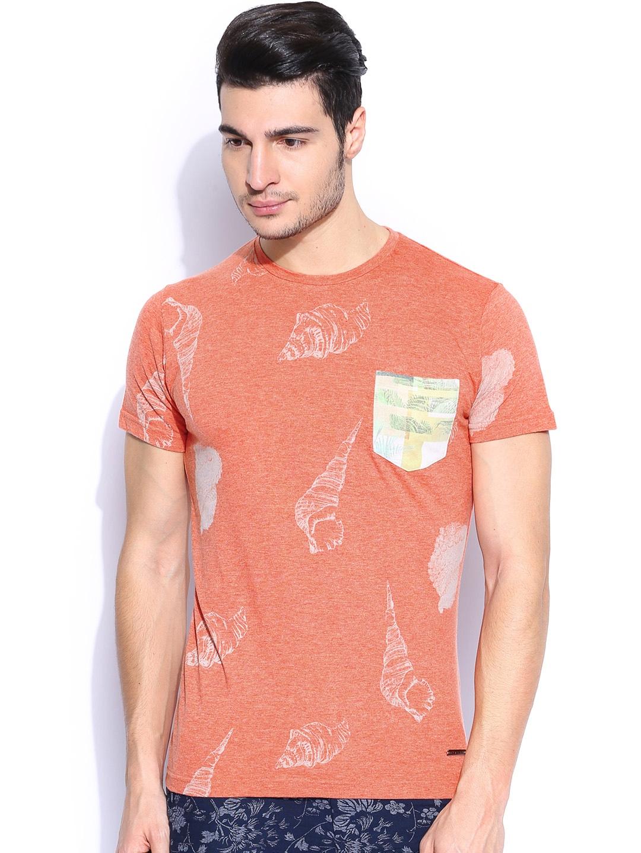 Myntra Sisley Men Coral Pink Printed Slim Fit T Shirt