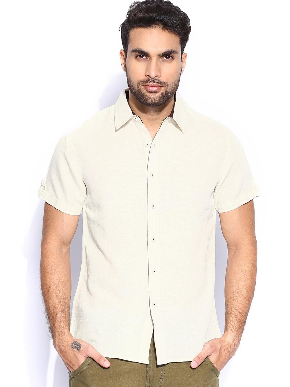 Myntra people men off white linen slim fit casual shirt for Slim fit white linen shirt