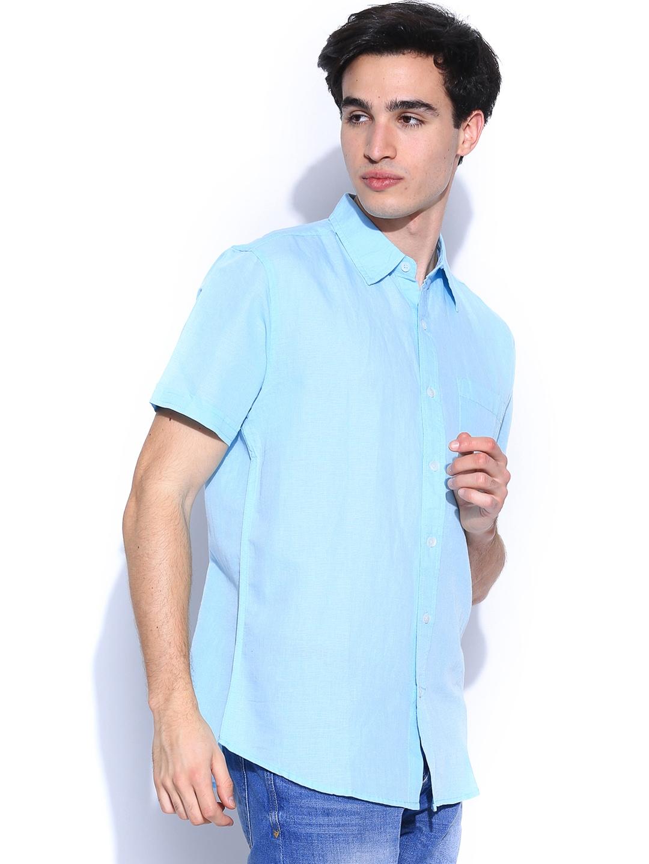 Myntra people men light blue linen smart casual shirt for Mens light blue linen shirt