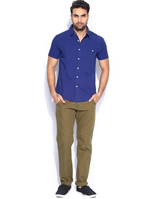 Myntra people men navy slim fit casual shirt 705092 buy for Navy slim fit shirt
