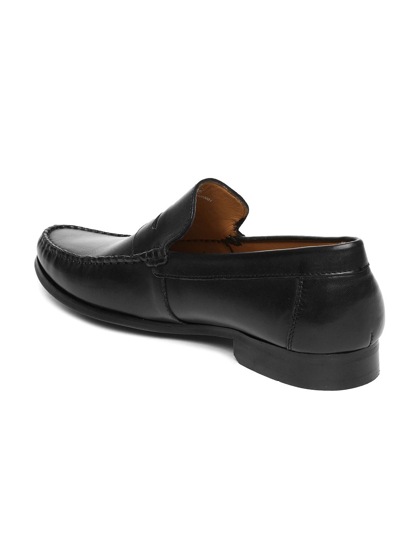 myntra ruosh work black leather classic semi formal